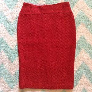 anthropologie MOULINETTE SOEURS red boucle skirt 0